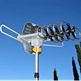 Able Signal Amplified HD Digital Outdoor HDTV Antenna with Motorized 360 Degree Rotation, UHF/VHF/FM Radio with Infrared Remote Control