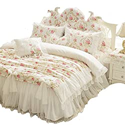 LELVA Girls Bedding Set Lace Ruffle Duvet Cover Sets with Bed Skirt Princess Bedding Set Vintage Floral Print Duvet Cover Full Size 4 Piece (Full, White)