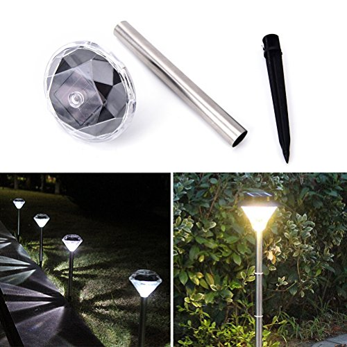 JONE 4PCS Led Color Changing Solar Powered Diamond Stake Lights Garden Lawn Landscape Pathway Lamps (Warm White)