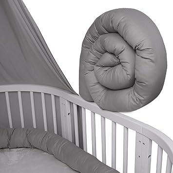 Farbe weiss uni Kopfschutz für Kinderbett XXL Geflochtenes Nestchen