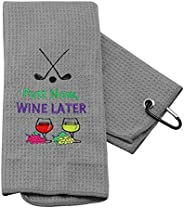 PXTIDY Golf Gifts for Women Men Putt Now Wine Later Golf Towel Golf Wine Golfer Gift Embroidered Golf Towel wi