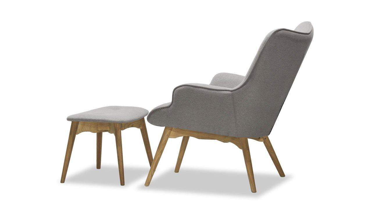 Retro Sessel mit Hocker, Ohrensessel, Eiche Farbe , Vintage ...