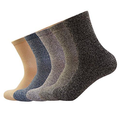 Mens Cotton Crew Dress Socks Pure Color Casual Knit Non Slip Comfy Retro Socks 5Pack