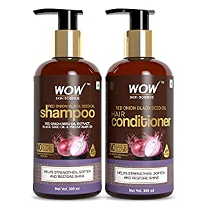 WOW Skin Science Onion Oil Shampoo & Conditioner Kit With Red Onion Seed Oil Extract, Black Seed Oil & Pro-Vitamin B5…