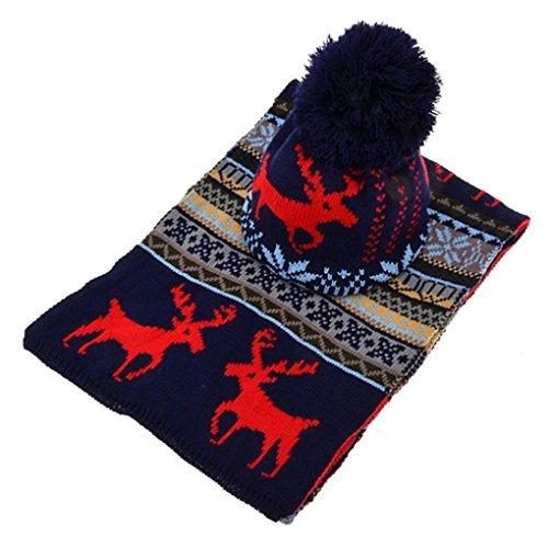 Gotd Womens Men Winter Crochet Hat Fur Woolen Knit Beanie Raccoon Warm Caps+Scarf Shawl Suit Christmas (Blue)