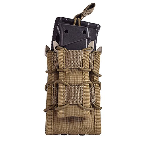 System M4 Double Mag Pouch - EMERSONGEAR Tactical Double M4 M16 Mag Pouch Molle Airsoft with Pistol Magazine Pouch CB