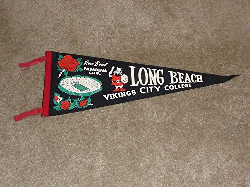VINTAGE 1960 LONG BEACH CITY COLLEGE (CA) JR ROSE BOWL PENNANT NEAR MINT by Ticket Stubs and Pubs