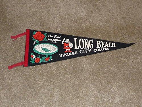 VINTAGE 1960 LONG BEACH CITY COLLEGE (CA) JR ROSE BOWL PENNANT NEAR - Beach City Shops