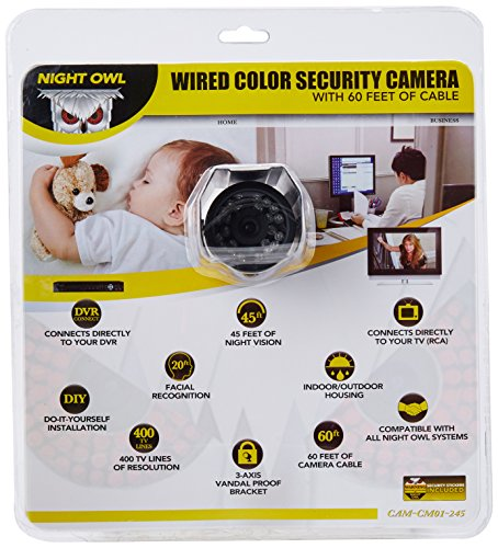 (Night Owl Security Products CAM-CM01-245 Wired Color Security Camera with Vandal Proof 3-axis Bracket and 60 Feet of Cable )