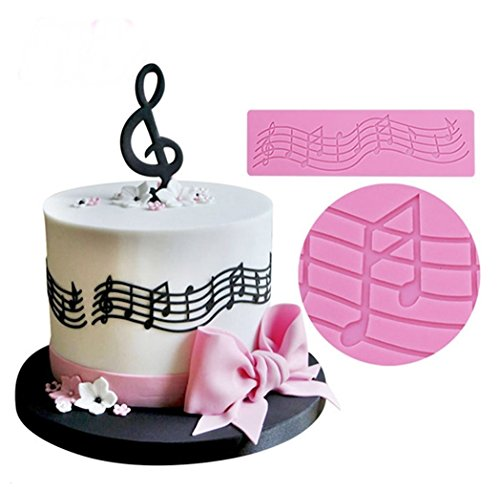 Joinor Silicone Lace Mat Cake Decoration Pad Music Decoration Mat Color (Music Cake)