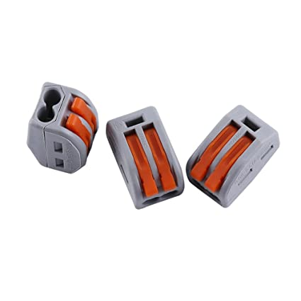 2x 5 Way Reusable Spring Lever Terminal Block Electric Cable Connector Wire