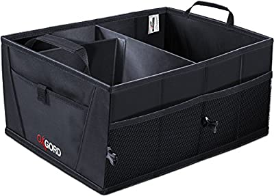 Auto Trunk Storage Organizer Bin with Pockets - Portable Cargo Carrier Caddy for Car Truck SUV Van, 21 x 15 x 10 Folding Bag