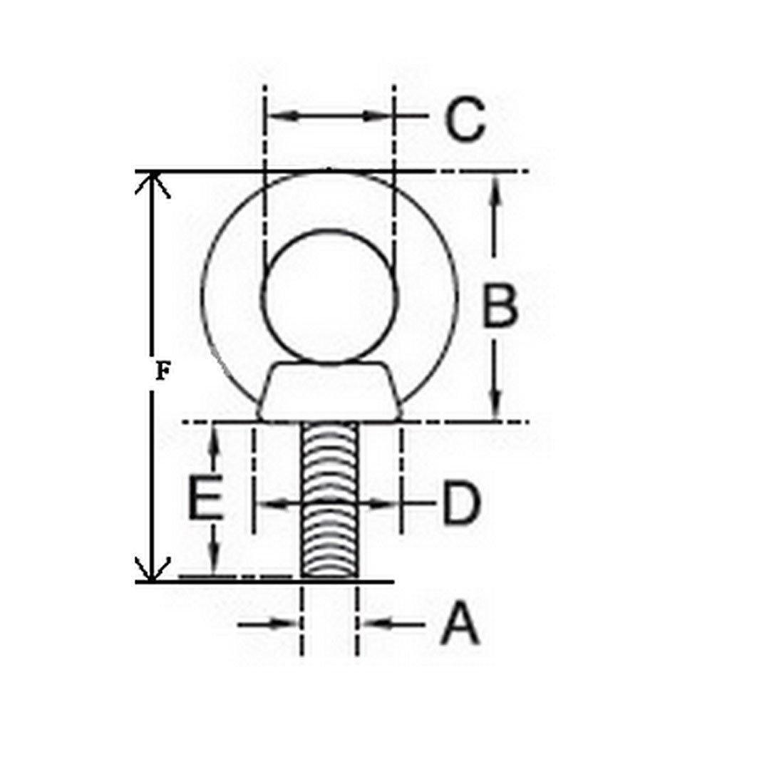 DealMux Metal Machinery Shoulder Lifting Eye Bolt Ring M8x15mm Thread 2pcs