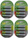 16 AA NiMH Pre-Charged 1.2v 2100mAh Rechargable Batteries By GP Recyko