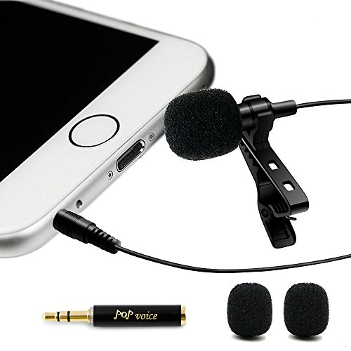Price comparison product image Professional 1 Best Lavalier Lapel Microphone Omnidirectional Condenser Mic for Apple IPhone Android & Windows Smartphones, Youtube, Interview, Studio, Video Recording, Noise Cancelling Mic