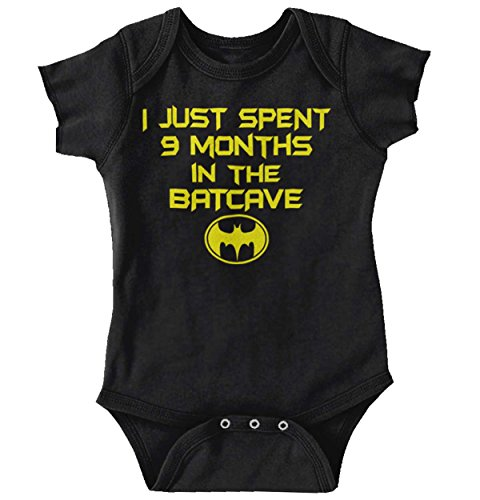 Brisco Brands 9 Month Batman Shirt | Lego Batcave Funny Gift Idea Hero Baby Romper (Cava Gifts)