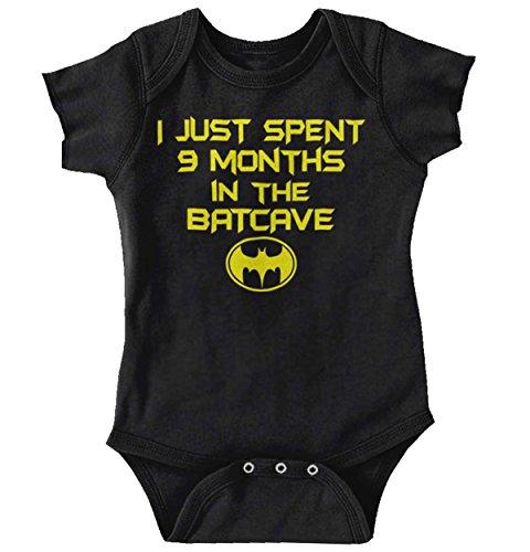 9 Months Batcave Funny Batman Cool Superhero Cute Baby Onesie Bodysuit