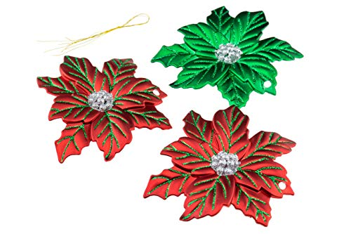 (Christmas Poinsettia Ornament Set by Clever Creations | Beautiful Red and Green Pattern | 3 Pack | Festive Holiday Décor | Classic Design | Light Weight Shatter Resistant | Hangers Included)