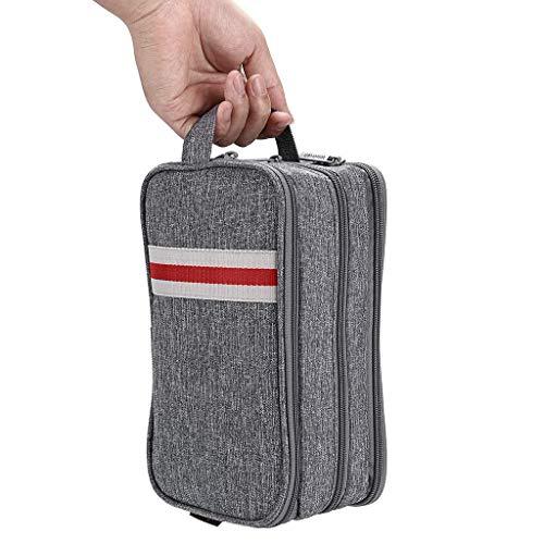 Toiletry Bag for Men or Women - Dopp Kit Travel Makeup Bag Waterproof Cosmetic Bag Organizer Wash Bag Portable Shaving Bag Grey