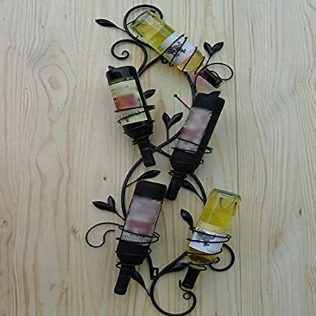 MKJYDM Bar Colgante De Vino Estante De Vino Bodega Bodega Boca Abajo Estante De Botella De Hierro Forjado Creativo Estante De Vino Casero estantería de Vino (Color : Black)
