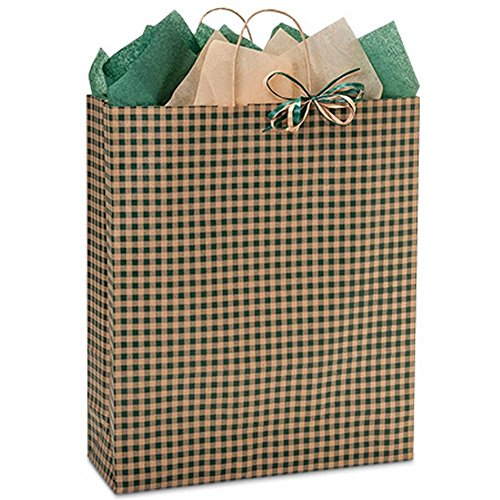 Hunter Gingham Paper Shopping Bags - Queen Size - 16 x 6 x 19in. - 100 Pack by NW