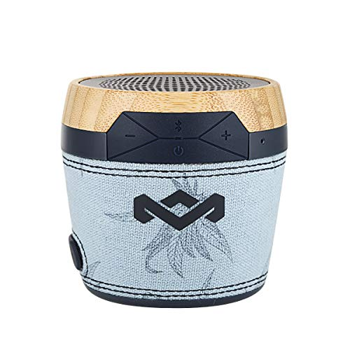 House of Marley, Chant Mini Bluetooth Portable Wireless Speaker, Splash Resistant IPX4, Full Range Sound, Integrated Mic for Use as Speaker Phone, Carabiner, Sustainably Crafted, EM-JA007-BH Blue -