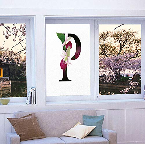 YOLIYANA Frosted Window Film Stained Glass Window Film,Letter P,Work Well in The Bathroom,Lady Slipper Flower with Dark Colored Letter P,24''x36''