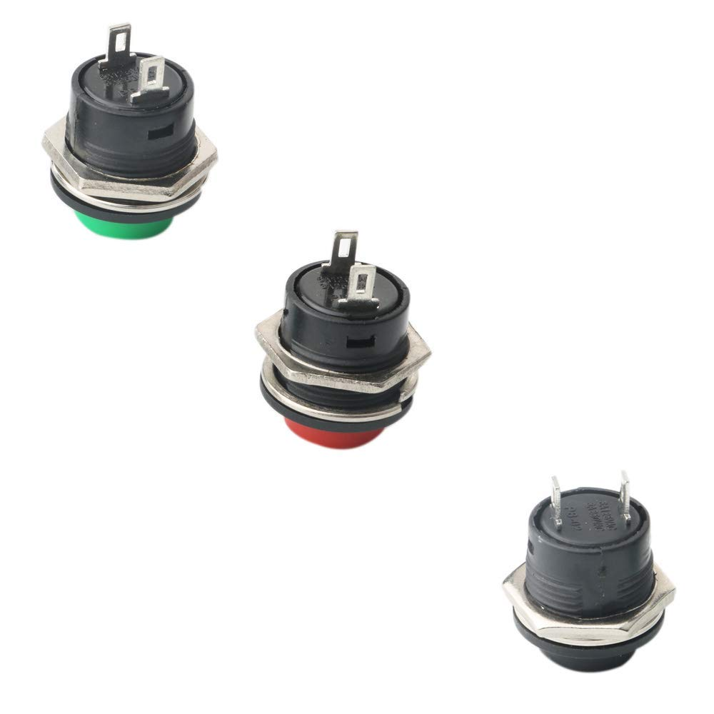 RUNCCI 16mm Push Button Switch ON//Off Momentary Button Power Switch 24 Pcs
