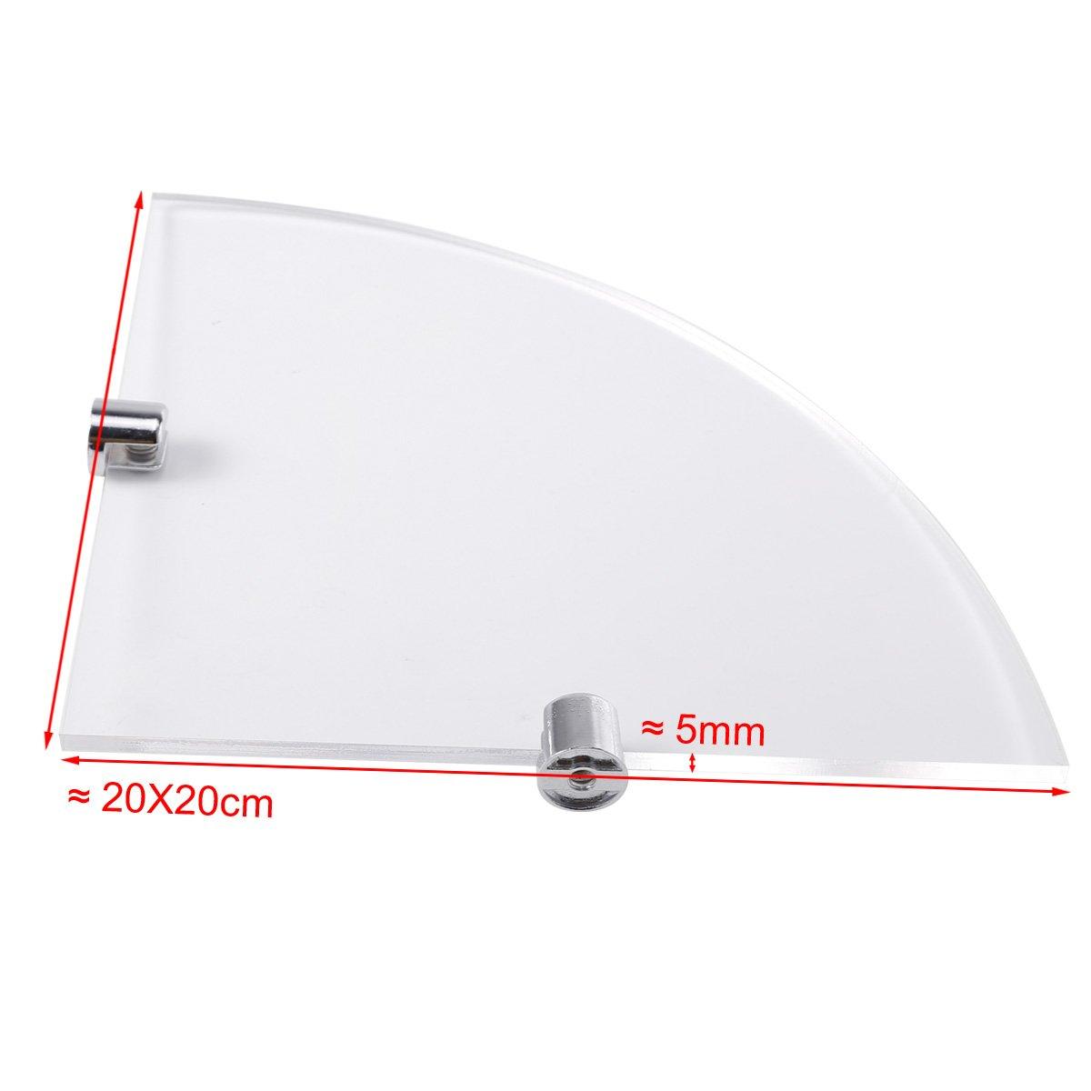 Glas Effekt Acryl Eckregal Eckablage Badregal mit Befestigungselementen f/ür Badezimmer WC 200 mm ca. 8 Zoll