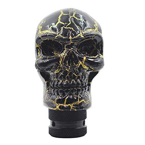 Sakali Resin Skull Car Gear Stick Shift Shifter Knob Universal fit for Most Manual Transmission or Automatic Transmission Without Lock Button(Black+Golden)
