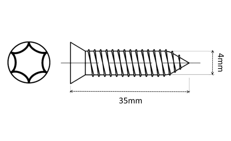 Impronta Torx Aerzetix C41574 Acciaio zincato Viti per Legno con Testa conica 4//35 mm Confezione da 100