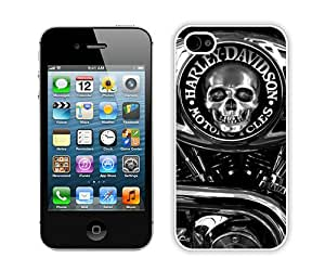 Unique Photo Case,Harley Davidson 15 White Custom iPhone 4s Cover Case