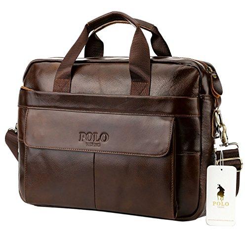 VIDENG POLO Handmade Briefcase Top Grain Leather Laptop Bag Messenger Shoulder Bag for Business Office 15 inch Macbook (MP-Dark Brown)