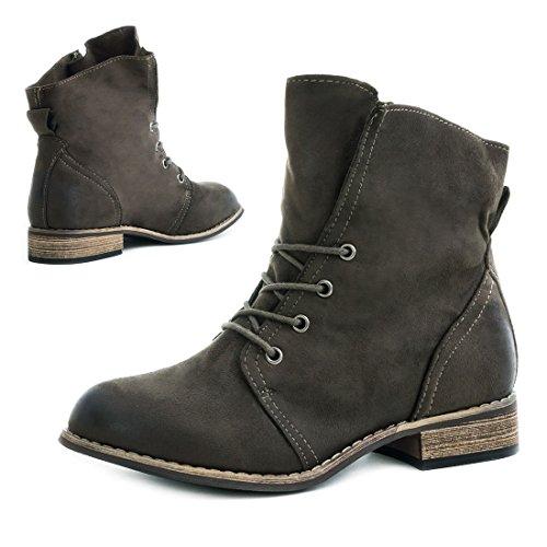 Marimo Stylische Ankle Worker Boots Schnür Stiefeletten Stiefel in Hochwertiger Lederoptik Grün 36 jnbD1Q