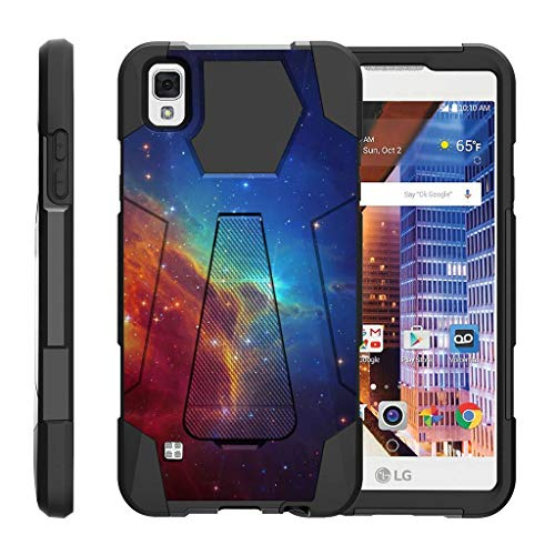 TurtleArmor | Compatible for LG Tribute HD Case | LG Volt 3 | LG X Style [Dynamic Shell] Hybrid Dual Layer Hard Shell Kickstand Silicone Case - Colorful Nebula Galaxy (Virgin Mobile Phone Case Lg Volt)