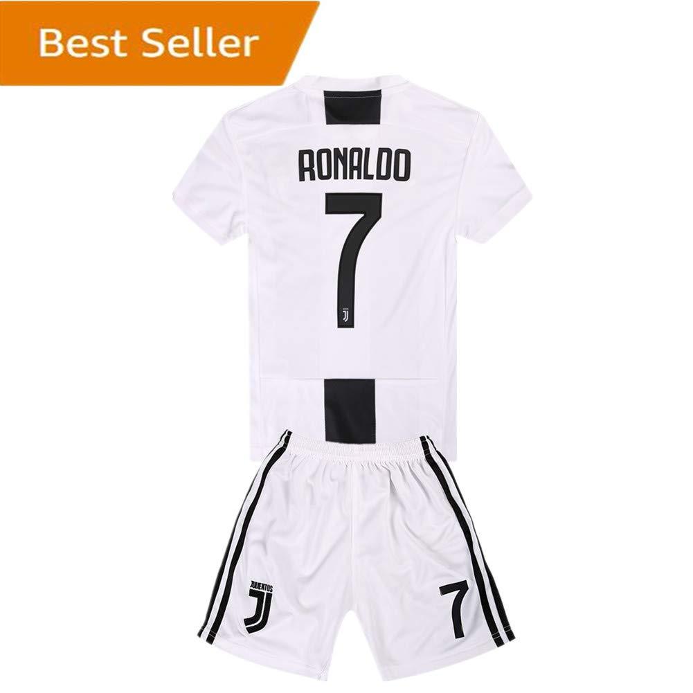 SUIROSE  7 Ronaldo Juventus Kids Youth Home Boys Soccer Jersey   Shorts 18- 19 Season White 0767a57f1