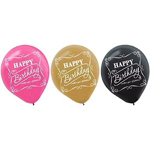 Pink and Fabulous Birthday Printed Latex Balloons, Pink/Gold/Black, 12