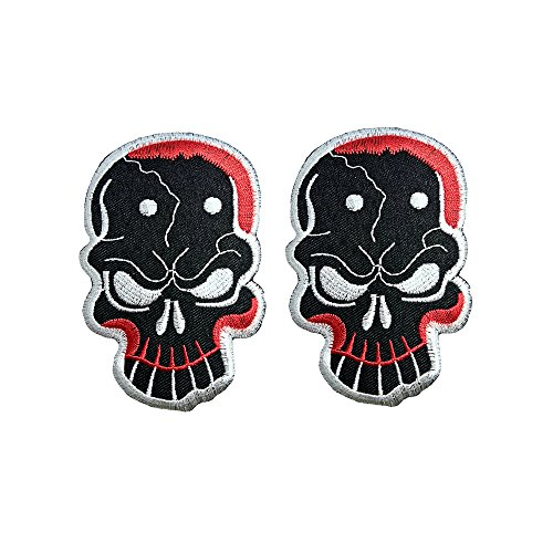 R2K 2Pcs. Skull Ghost Day Of The Death Love Never Die Rockabilly Lady Rider Hippie Punk Tatoo Jacket T-shirt Patch Sew Iron on Embroidered Sign Badge Costume ()