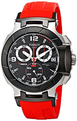 Tissot Men's T0484172705701 T-Race Two-Tone Stainless Steel Watch with Red Rubber Band (Tissot Trace)