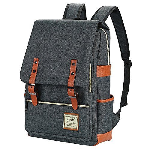 Canvas Backpack - Lightweight Laptop Backpack, Vintage Travel Backpack with Laptop Sleeve, Campus Backpack with Side Pockets Canvas Rucksack for School Working Hiking (Black)