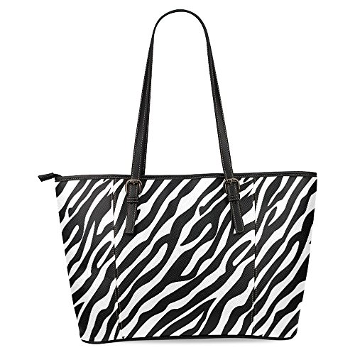 InterestPrint Zebra Pattern Black White Women's Leather Tote Shoulder Bags Handbags ()