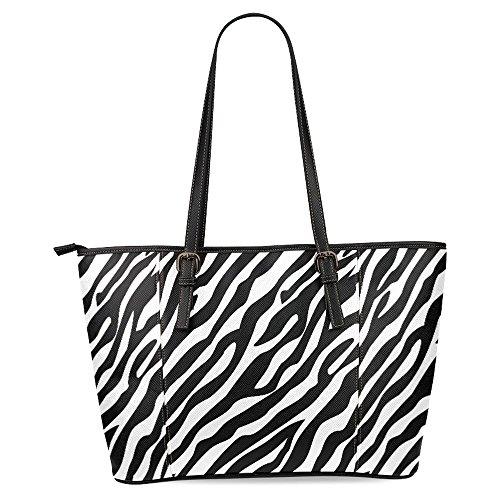 (InterestPrint Zebra Pattern Black White Women's Leather Tote Shoulder Bags Handbags)