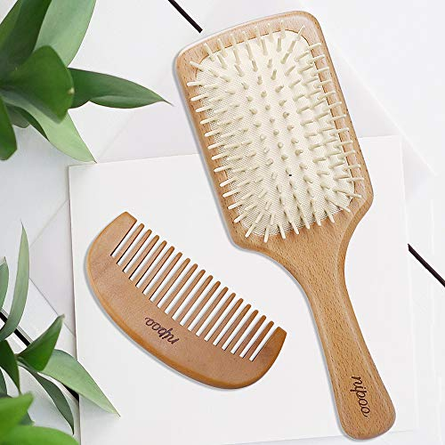 Nipoo Natural Wooden Paddle Detangling Hair Brush for Women, Men and Kids - Designed for All Hair Types - Wooden Comb and Gift Bag Included ()