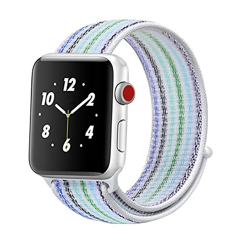 Price comparison product image Winmy For Apple Watch Band Sport Loop Bands 42mm, Lightweight Breathable Nylon Replacement Band Strap for Apple Watch Nike+, Series 1, Series 2, Series 3, Sport, Edition - Blue Rainbow Stripe