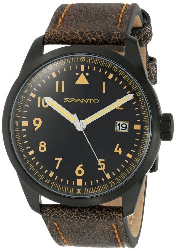 Szanto Men's SZ 2202 2200 Series Classic Vintage-Inspired Black Stainless Steel Watch with Calfskin Band