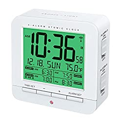 Four Alarm Atomic Clock With Auto Nightlight And Smart Touch-Activated Snooze & Backlight Function (WHITE)