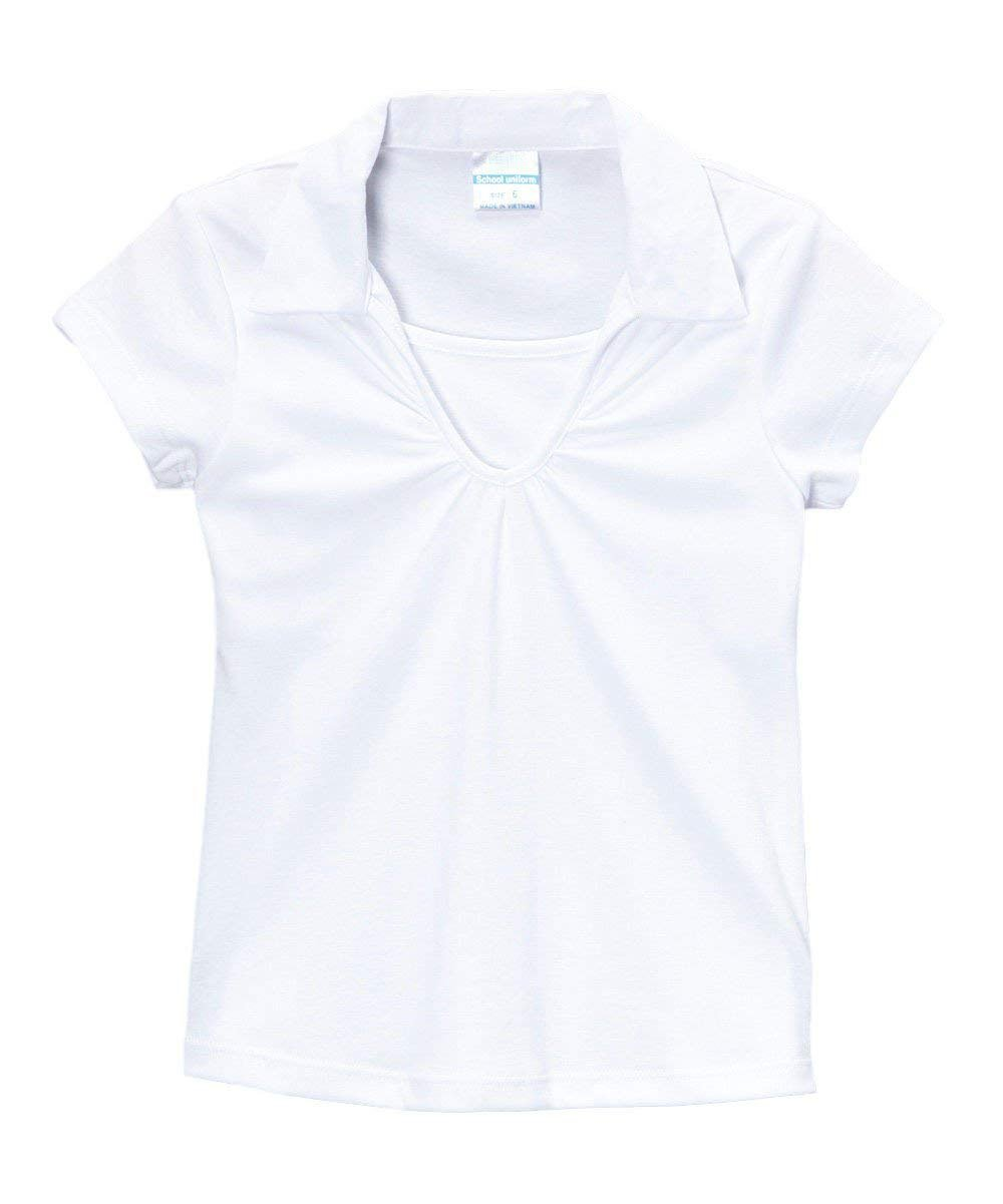 Big Girl's White School Uniform Shirt V-Neck Collar Short Sleeve Size 12