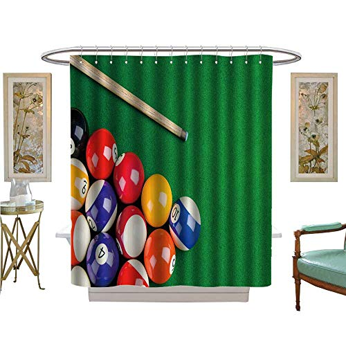 luvoluxhome Shower Curtains 3D Digital Printing Billiard Balls on Green Table with Billiard cue Snooker Pool Game Satin Fabric Sets Bathroom W69 x L70