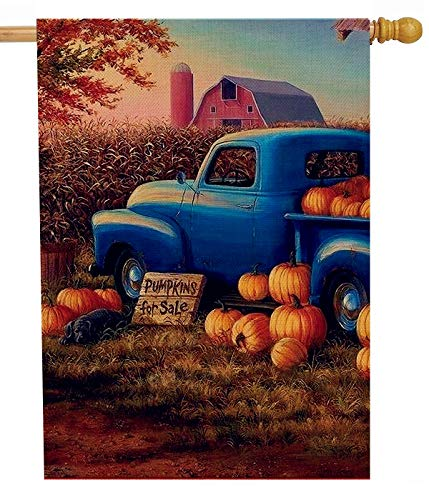- Dyrenson Fall Farm Truck 28 x 40 House Flag Farmhouse Double Sided, Rustic Autumn Harvest Pumpkin Burlap Garden Yard Decoration, Primitive Pickup Seasonal Outdoor Décor Decorative Large Flag