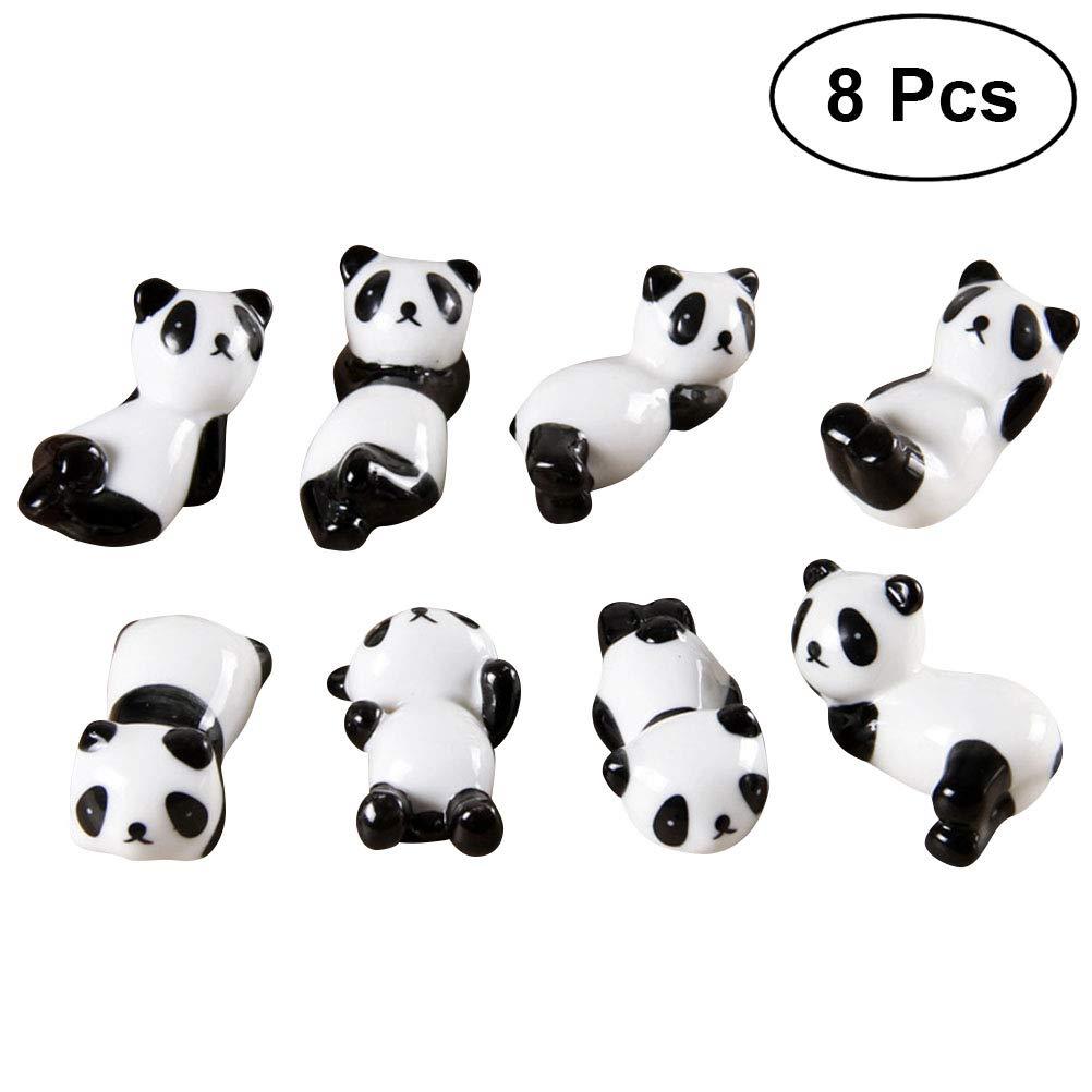 BESTONZON Porta bacchette cinesi forma Panda in ceramica 8 pezzi